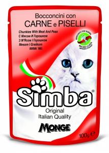 simba gatto umido buste bocconcini con carne e piselli